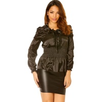 ELEGANT LONG-SLEEVED SATIN BLOUSE WITH VOLANT COLLAR BLACK