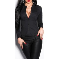 ELEGANT FORM-FITTING LONG-SLEEVED BUSINESS BLOUSE WAISTED BLACK UK 10 (M)