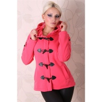 PRECIOUS FLEECE SHORT COAT JACKET CORAL UK 10 (M)