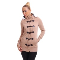 PRECIOUS FLEECE SHORT COAT JACKET WITH TOGGLE CLOSURE BEIGE