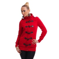 PRECIOUS FLEECE SHORT-COAT JACKET WITH TOGGLE CLOSURE RED
