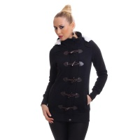 PRECIOUS FLEECE SHORT COAT JACKET WITH TOGGLE CLOSURE BLACK
