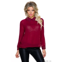 ELEGANT GLAMOUR CHIFFON BLOUSE WITH METAL PLATES WINE-RED