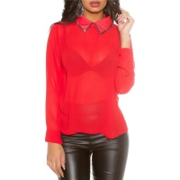 ELEGANT GLAMOUR CHIFFON BLOUSE WITH RHINESTONES RED