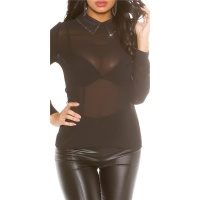 ELEGANT GLAMOUR CHIFFON BLOUSE WITH RHINESTONES BLACK Onesize (UK 8,10,12)