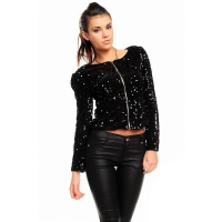 ELEGANT GLAMOUR JACKET WITH SEQUINS PARTY BLACK