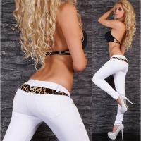 ELEGANT GLAMOUR DRESS PANTS WITH RHINESTONES LEO-LOOK WHITE UK 12 (M)