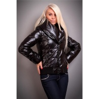 EXCLUSIVE GLANCE QUILTED JACKET WINTER COAT WET LOOK BLACK