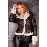 EXCLUSIVE JACKET IN LEATHER-LOOK WITH FAKE FUR DARK BROWN/BEIGE UK 12 (M)