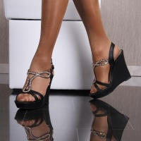 ELEGANT WEDGE SANDALS WITH RHINESTONES BLACK UK 5