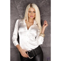 ELEGANT CLASSIC LONG-SLEEVED SATIN BLOUSE CREME-WHITE