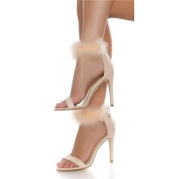 ELEGANT STRAP SANDALS IMITATION LEATHER WITH PLUSH BEIGE