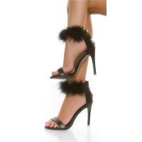 ELEGANT STRAP SANDALS IMITATION LEATHER WITH PLUSH BLACK
