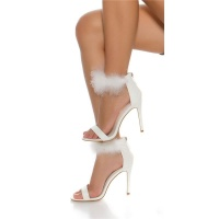 ELEGANT STRAP SANDALS IMITATION LEATHER WITH PLUSH WHITE