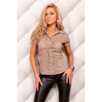 ELEGANT SHORT-SLEEVED BLOUSE WITH FRILLS BROWN