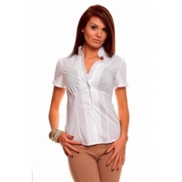 ELEGANT SHORT-SLEEVED BLOUSE WITH FRILLS WHITE UK 8