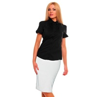 ELEGANT SHORT-SLEEVED BLOUSE WITH DRAPES BLACK