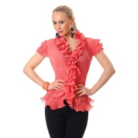 ELEGANT SHORT-SLEEVED CHIFFON BLOUSE WITH SWEET FRILLS CORAL UK 12/14 (M/L)