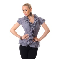 ELEGANT SHORT-SLEEVED CHIFFON BLOUSE WITH SWEET FRILLS GREY
