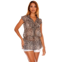 ELEGANT SHORT-SLEEVED CHIFFON BLOUSE WITH FRILLS LEOPARD-BEIGE