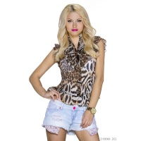 ELEGANT SHORT-SLEEVED CHIFFON BLOUSE WITH FRILLS LEOPARD/BROWN UK 12/14 (M/L)
