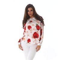 ELEGANT LONG-SLEEVED BLOUSE WITH FLOWERS FRILLS AND LACE...