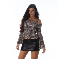 ELEGANT LONG-SLEEVED CARMEN BLOUSE IN LEOPARD LOOK LEO-BEIGE