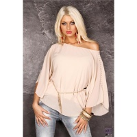 ELEGANT LONG-SLEEVED CHIFFON BLOUSE WITH CHAIN BELT BEIGE