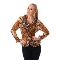 ELEGANT LONG-SLEEVED CHIFFON BLOUSE WITH FRILLS LEOPARD/TERRACOTTA
