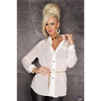 ELEGANT LONG-SLEEVED CHIFFON BLOUSE TRANSPARENT WITH BELT WHITE Onesize (UK 10,12)