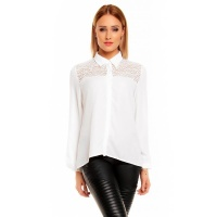 ELEGANT LONG-SLEEVED CHIFFON BLOUSE TRANSPARENT WITH LACE WHITE