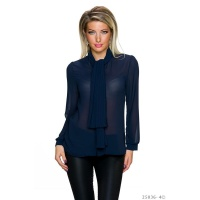ELEGANT LONG-SLEEVED CHIFFON BLOUSE WITH SHAWL COLLAR NAVY