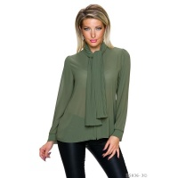 ELEGANT LONG-SLEEVED CHIFFON BLOUSE WITH SHAWL COLLAR...