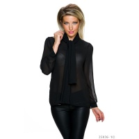 ELEGANT LONG-SLEEVED CHIFFON BLOUSE WITH SHAWL COLLAR BLACK