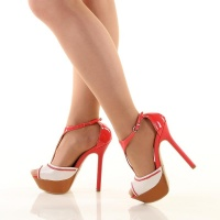 SEXY PEEP TOES PLATFORM HIGH HEELS SHOES CORAL