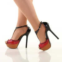 SEXY PEEP TOES PLATFORM HIGH HEELS SHOES BLACK