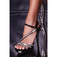 ELEGANT PLATFORM SANDALS HIGH HEELS WITH RHINESTONES BLACK