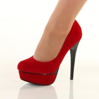 SEXY VELVET PUMPS HIGH HEELS PLATFORM SHOES RED