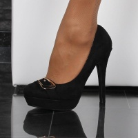 ELEGANT PUMPS HIGH HEELS PLATFORM SHOES MADE OF VELOUR BLACK