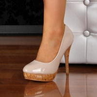 ELEGANTE PUMPS HIGH HEELS PLATEAU-SCHUHE KORK-OPTIK  BEIGE