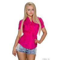 ELEGANT SHORT-SLEEVED BLOUSE WITH SWEET FRILLS FUCHSIA