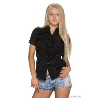 ELEGANT SHORT-SLEEVED BLOUSE WITH SWEET FRILLS BLACK