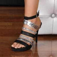 ELEGANT SANDALS HIGH HEELS PLATFORMS BLACK