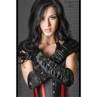 ELEGANT SATIN GAUNTLETS GLOVES WITH RHINESTONES BLACK
