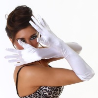 ELEGANT SATIN ELBOW GLOVES WHITE