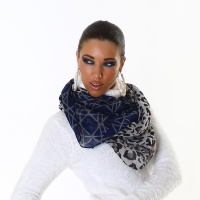 ELEGANT SUMMER TUBE SCARF IN LEO-LOOK BLUE