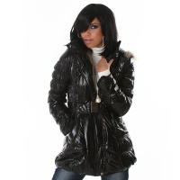 EXCLUSIVE QUILTED JACKET GLANCE JACKET WET LOOK BLACK