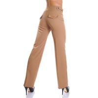 ELEGANT FLARED PANTS CLOTH PANTS CAMEL UK 20
