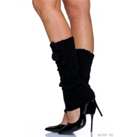 ELEGANT CABLE-KNIT LEGWARMERS WITH POMPONS BLACK