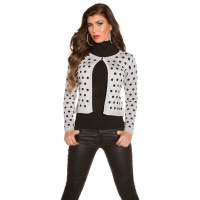 ELEGANT FINE-KNITTED CARDIGAN JACKET WITH POLKA DOTS GREY